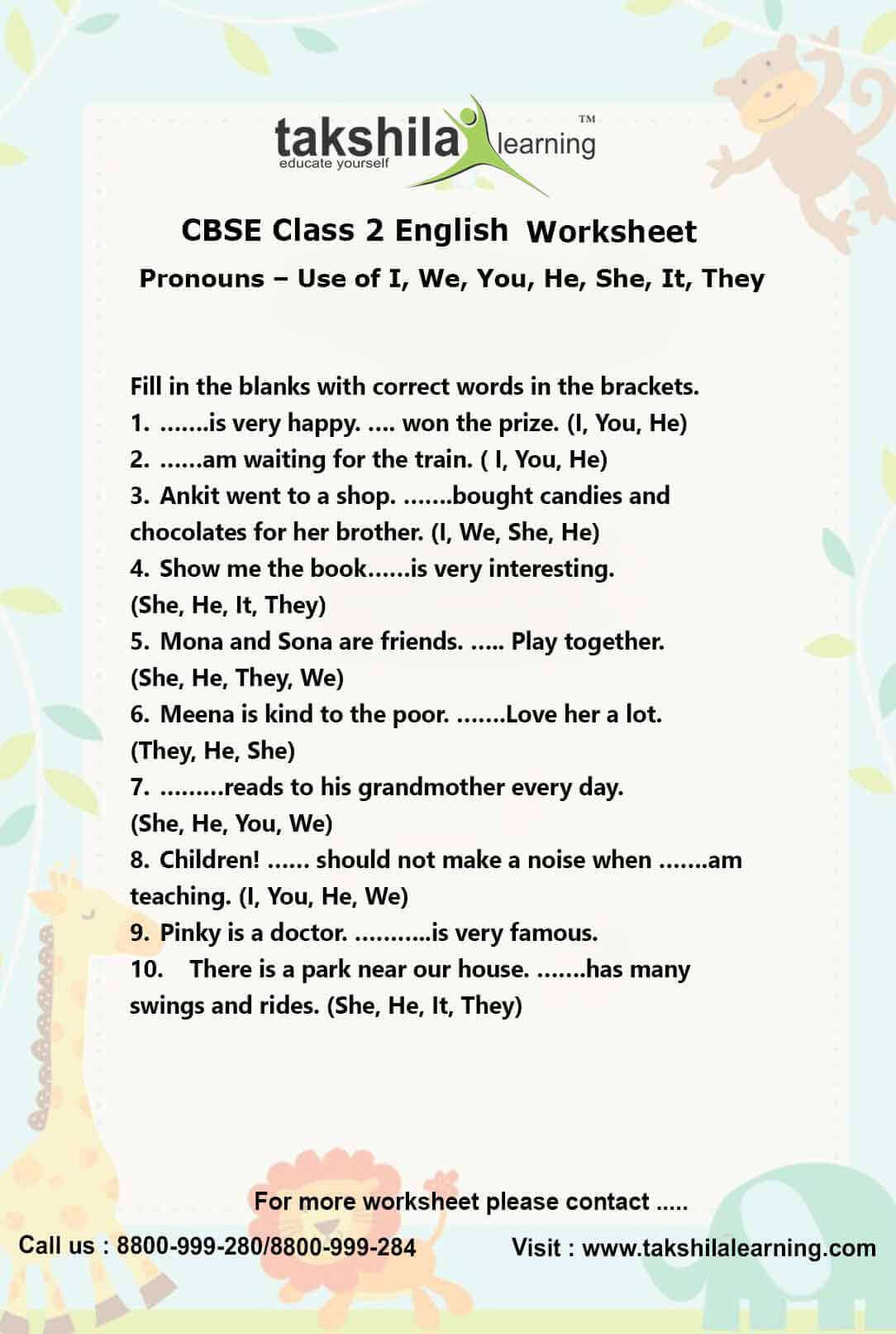 ncert cbse class 2 english use of pronouns practice worksheet. Black Bedroom Furniture Sets. Home Design Ideas