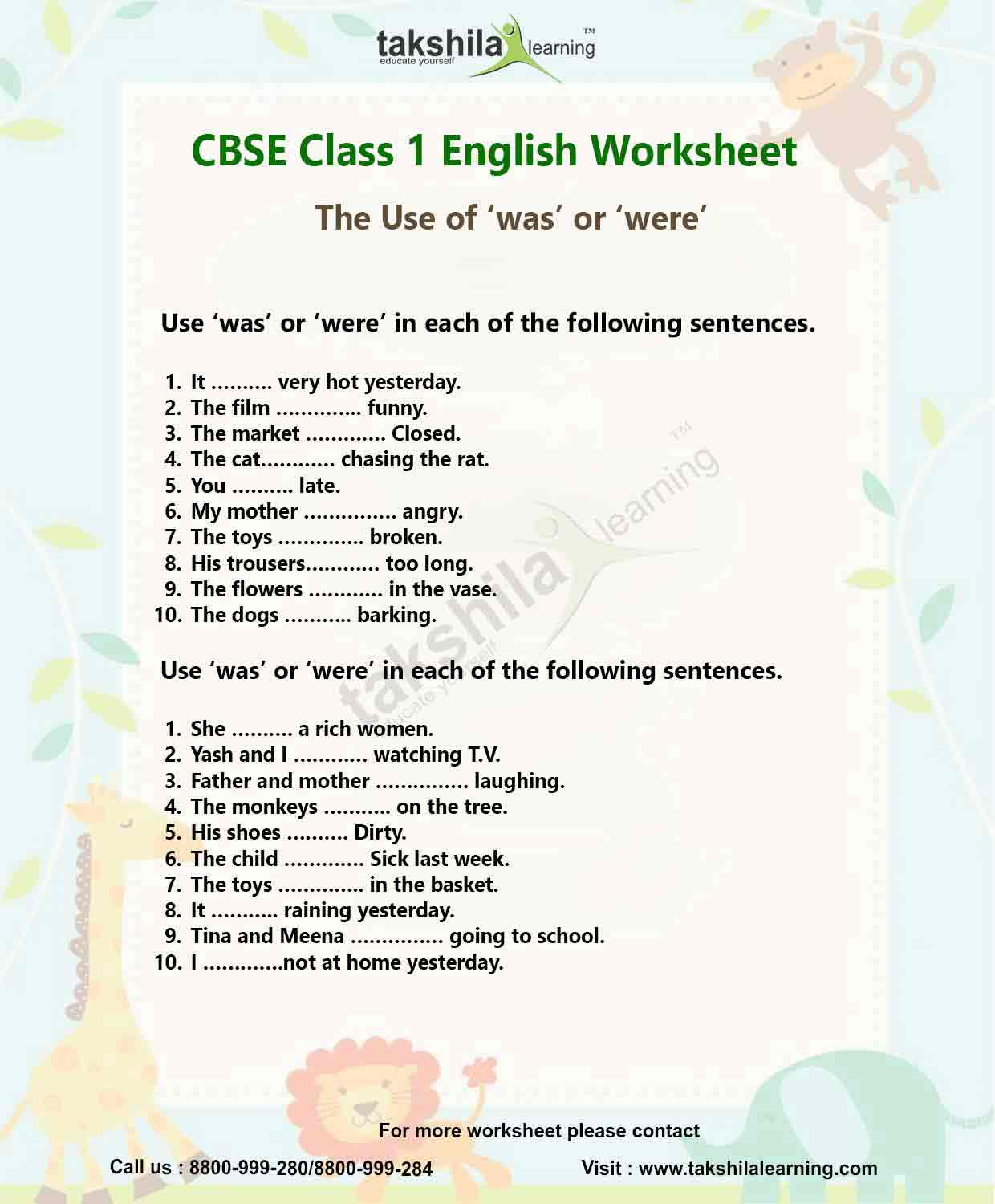 worksheet Was Were Worksheets class 1 english worksheet the use of was or were takshilalearning download worksheet