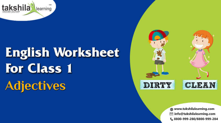 Practice English Grammar Worksheet For Class 1 - Adjectives