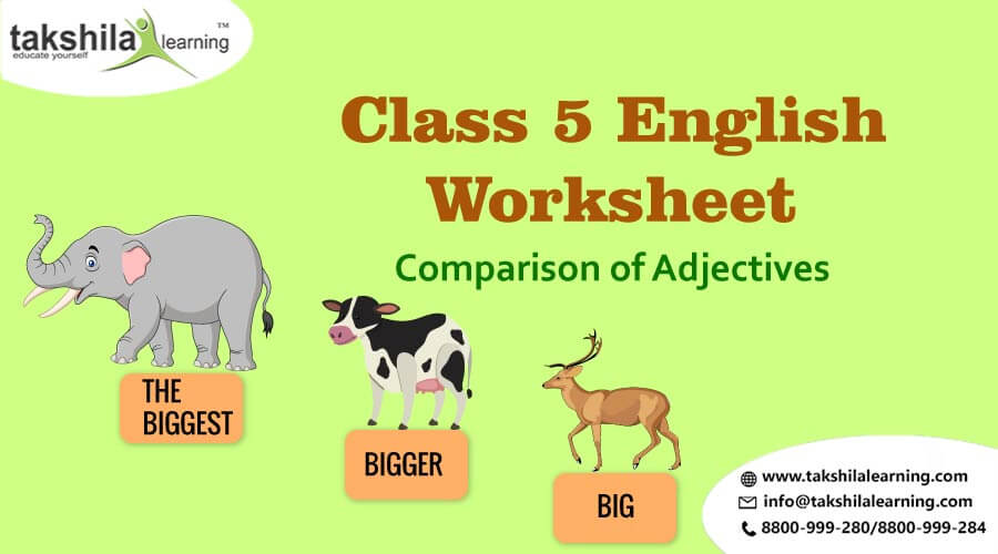 Class 5 English Worksheet, Comparison of Adjectives, English worksheet for class 5, Practice Grammar for Class 5, Worksheet Comparison of Adjectives