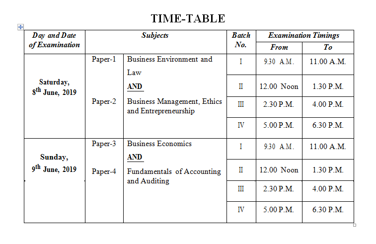 ICSI CS Foundation , CS Executive & CS Professional June exams 2019 schedule