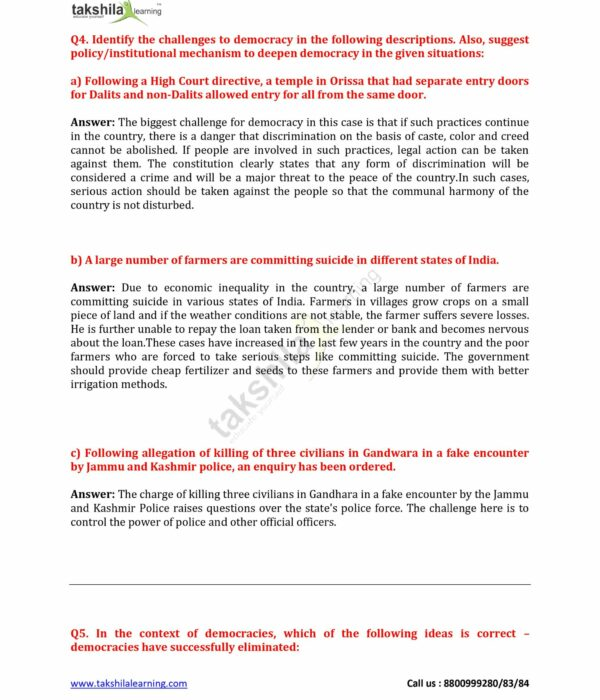 10 Civics Chapter 7 Outcomes of Democracy